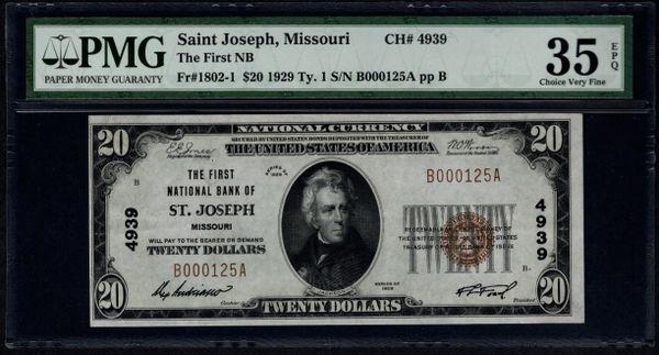 1929 $20 The First National Bank of St. Joseph Missouri PMG 35 EPQ Fr.1802-1 Charter CH#4939 Item #8004006-011