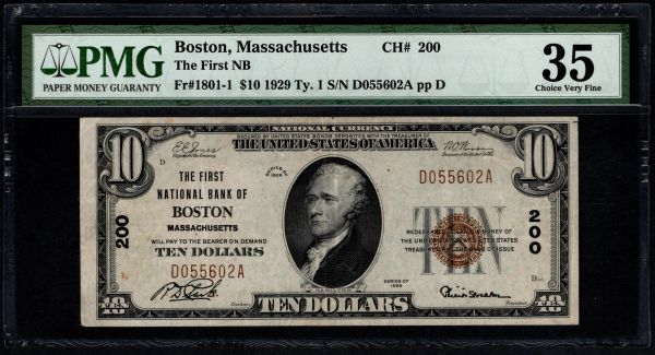 1929 $10 The First National Bank of Boston Massachusetts PMG 35 Fr.1801-1 Charter CH#200 Item #1957852-057