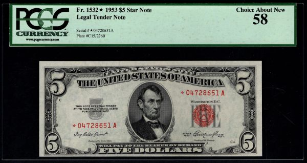1953 $5 STAR Legal Tender PCGS 58 Fr.1532* Item #80516042