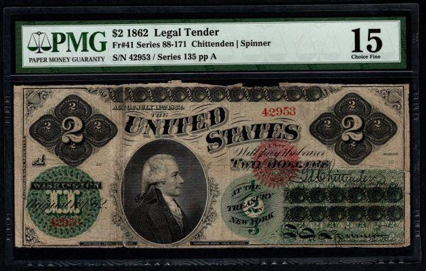 1862 $2 Legal Tender PMG 15 Fr.41 Item #2510661-001