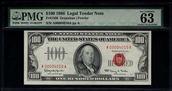 1966 $100 Legal Tender PMG 63 EPQ Fr.1550 Low 4-Digit Serial Number Item #1022583-007