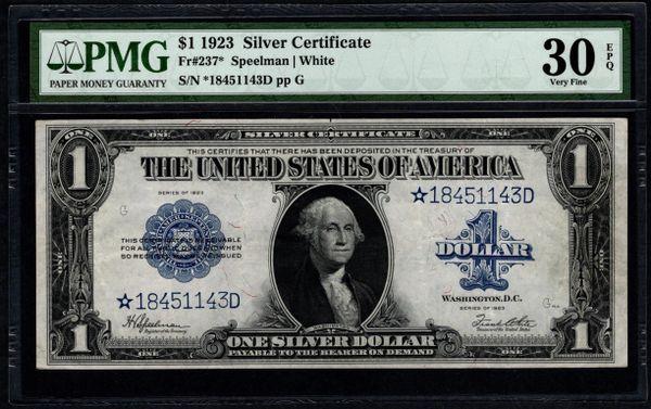 1923 $1 STAR Silver Certificate PMG 30 EPQ Fr.237* Item #1958181-002
