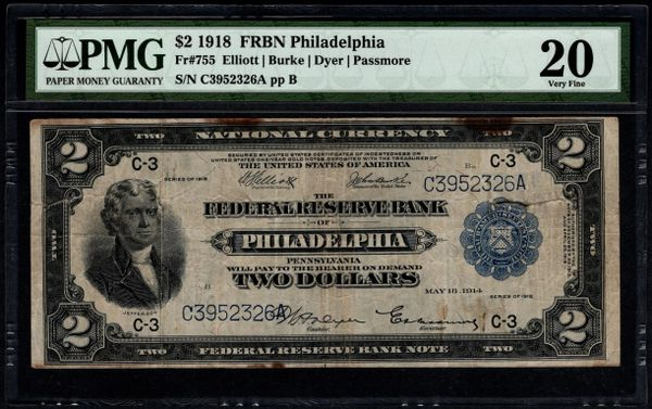 1918 $2 Philadelphia FRBN Battleship Note PMG 20 Fr.755 Item #8070166-006