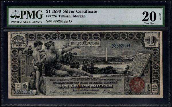 1896 $1 Silver Certificate Educational Note PMG 20 NET Fr.224 Item #8014375-001