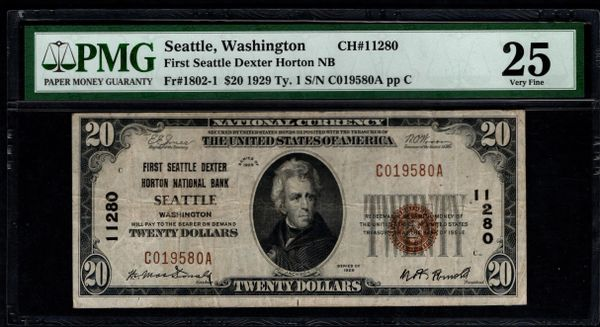1929 $20 First Seattle Dexter Horton NB Washington PMG 25 Fr.1802-1 Charter CH#11280 Item #1540112-096