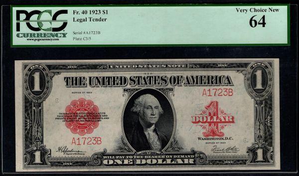 1923 $1 Legal Tender PCGS 64 Fr.40 4-Digit Serial Number Item #80757825