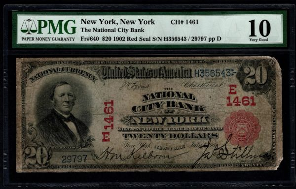 1902 $20 The National City Bank of New York Red Seal PMG 10 Fr.640 Charter CH#1461 Item #1819590-010