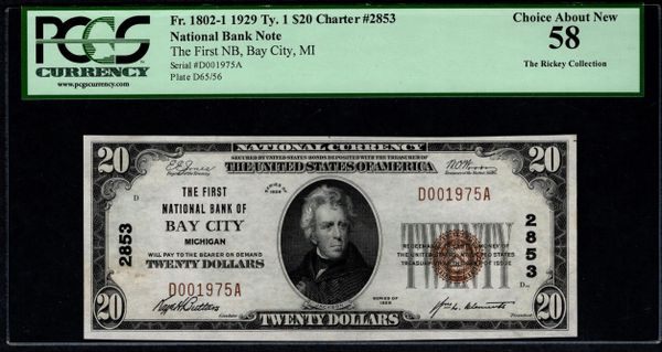 1929 $20 The First National Bank of Bay City Michigan PCGS 58 Fr.1802-1 Charter CH#2853 Item #80614353