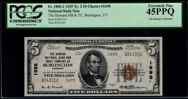 1929 $5 The Howard NB & TC Burlington Vermont PCGS 45 PPQ Fr.1800-2 Charter CH#1698 Item #80614450