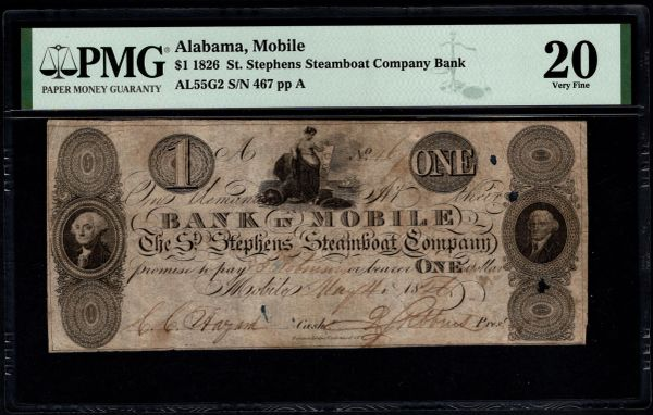 1826 $1 St. Stephens Steamboat Co. Bank Mobile Alabama PMG 20 Item #8075286-016