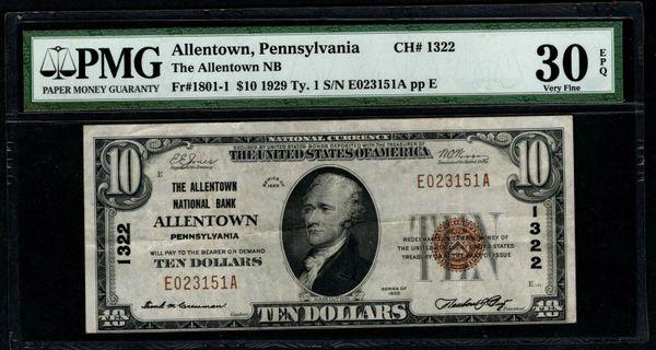1929 $10 The Allentown National Bank Pennsylvania PMG 30 EPQ Fr.1801-1 Charter CH#1322 Item #1886699-062