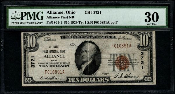 1929 $10 Alliance First National Bank Ohio PMG 30 Fr.1801-1 Charter CH#3721 Item #8050587-056