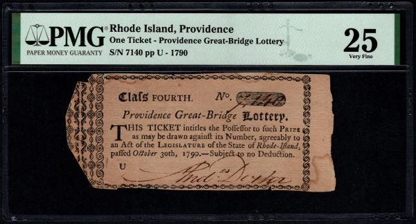 1790 Providence Rhode Island Great Bridge Lottery Ticket PMG 25 Item #1960856-027