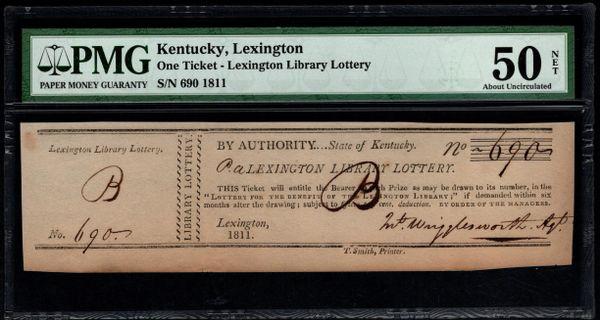 1811 Lexington Kentucky Library Lottery Ticket PMG 50 NET Item #1621530-003