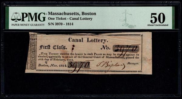 1814 Boston Massachusetts Canal Lottery Ticket PMG 50 Item #1960856-013