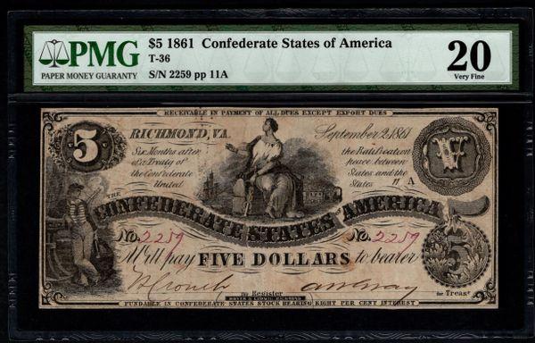 1861 $5 T-36 Confederate Currency PMG 20 Civil War Note Item #5014581-057