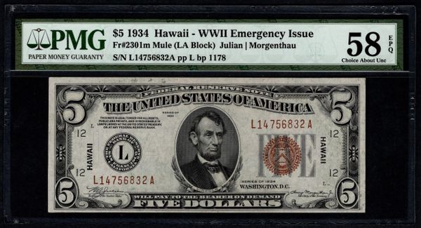 1934 $5 Hawaii Federal Reserve Note PMG 58 EPQ Fr.2301m Mule Item #5014619-004