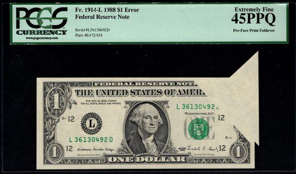 1988 $1 ERROR Foldover Butterfly PCGS 45 PPQ Fr.1914-L Item #80517850