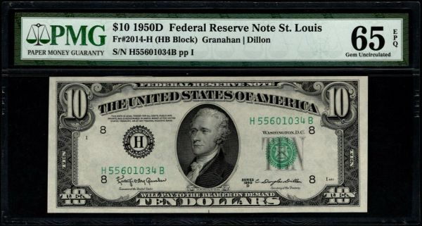 1950D $10 St. Louis FRN PMG 65 EPQ Fr.2014-H Item #1886032-050