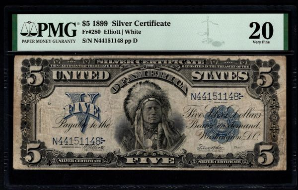 1899 $1 Silver Certificate Indian Chief Note PMG 20 Fr.280 Item #1991275-001
