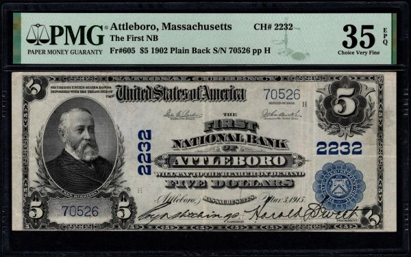 1902 $5 The First National Bank of Attleboro Massachusetts PMG 35 EP Fr.605 Charter CH#2232 Item #2511081-010