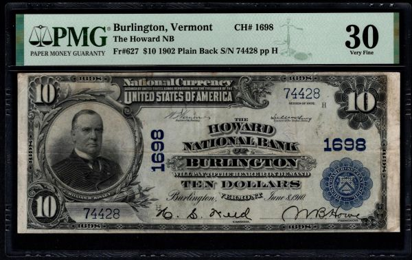 1902 The Howard National Bank of Burlington Vermont PMG 30 Fr.627 Charter CH#1698 Item #1991009-005