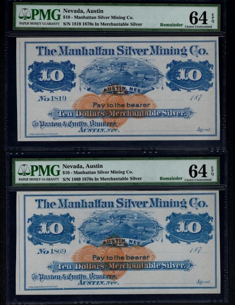 Lot of Two 1870's $10 Manhattan Silver Mining Co Austin Nevada Both PMG 64 EPQ Item #1611119-032/039