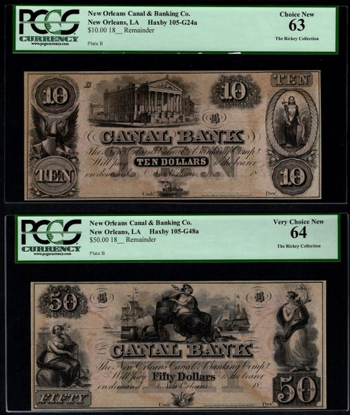 Lot of Two 1800's $10 & $50 New Orleans Canal Bank PCGS 63 & 64 Item #80724880/94