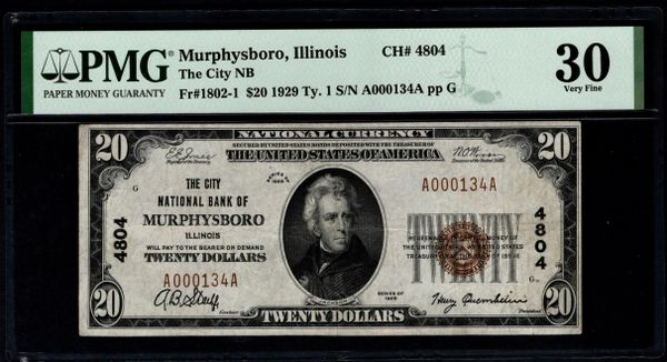 1929 $20 The City National Bank of Murphysboro Illinois PMG 30 Fr.1802-1 Charter CH#4804 Item #5014938-005