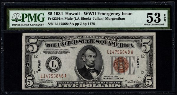 1934 $5 Hawaii Federal Reserve Note PMG 53 EPQ Fr.2301m Mule Item #5014619-016