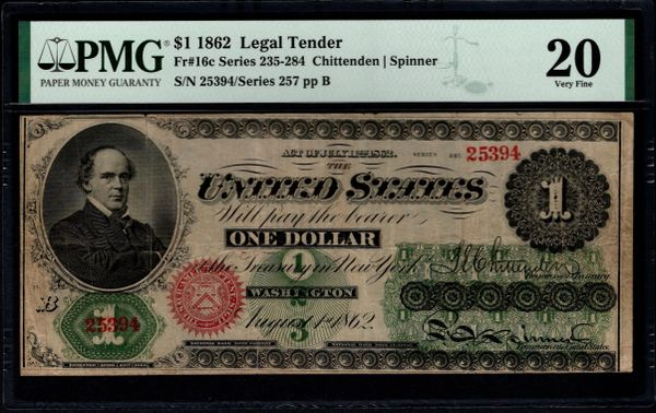 1862 $1 Legal Tender PMG 20 Fr.16c Item #1991137-002