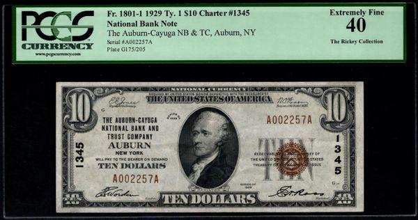 1929 $10 The Auburn-Cayuga NB & TC Auburn New York PCGS 40 Fr.1801-1 Charter CH#1345 Item #80614376