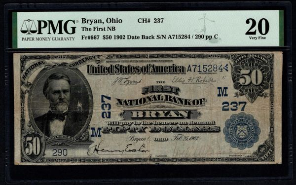 1902 $50 The First National Bank of Bryan Ohio PMG 20 Fr.667 Charter CH#237 Item #1991155-015