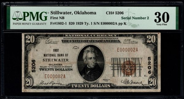 1929 $20 First National Bank of Stillwater Oklahoma PMG 30 Fr.1802-1 Single Digit Serial Number 2 CH#5206 Item #8075141-007