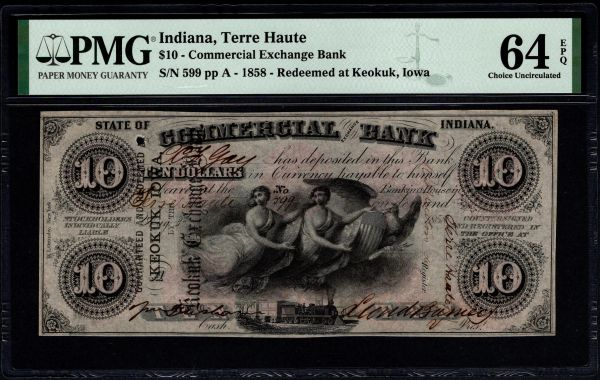 1858 $10 Terrre Haute Indiana Redeemed at Keokuk Iowa PMG 64 EPQ Item #8078937-002