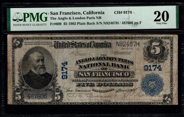 1902 $5 Anglo & London Paris National Bank San Francisco California PMG 20 Fr.600 Charter CH#9174 Item #8078937-013