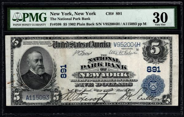 1902 $5 The National Park Bank of New York PMG 30 Fr.598 Charter CH#891 Item #8065973-006
