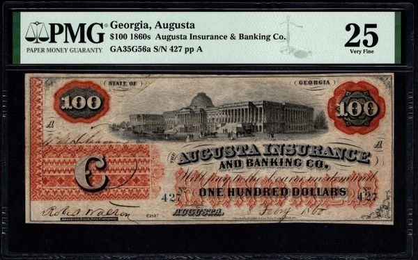 1860's $100 Augusta Insurance & Banking Co. Georgia PMG 25 Item #8078937-012