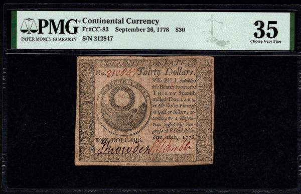 September 26, 1778 $30 Continental Currency PMG 35 CC-83 Item #8078937-007