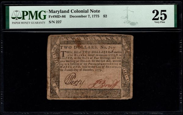 1775 $2 Maryland Colonial Currency PMG 25 MD-86 Item #8078937-008