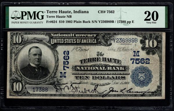 1902 $10 The Terre Haute National Bank of Indiana PMG 20 Fr.624 Charter CH#7562 Item #8078937-005