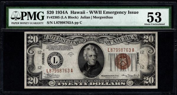 1934A $20 Hawaii Federal Reserve Note PMG 53 Fr.2305 Item #1859127-003