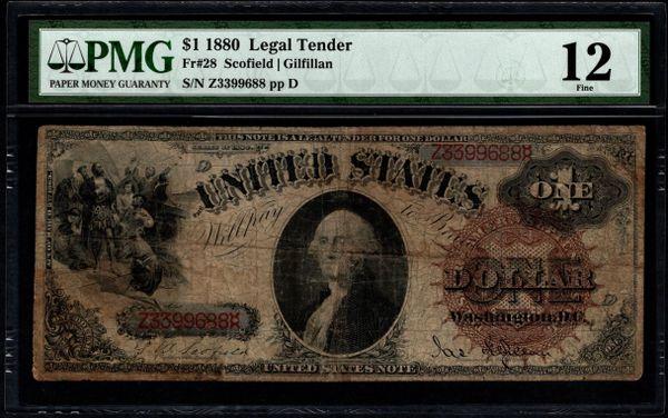 1880 $1 Legal Tender PMG 12 Fr.28 Item #5013774-002