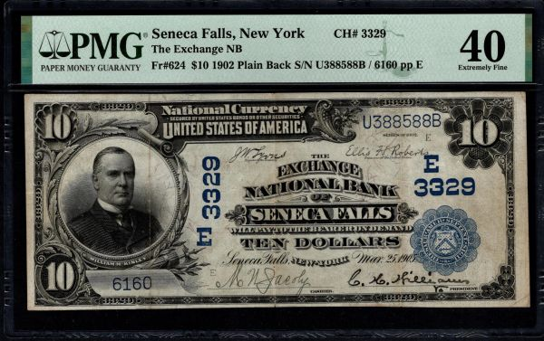1902 $10 The Exchange National Bank of Seneca Falls New York PMG 40 Fr.624 Charter CH#3329 Item #1991004-004