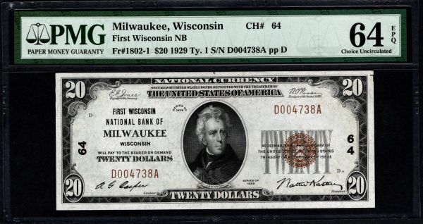 1929 $20 First Wisconsin National Bank of Milwaukee PMG 64 EPQ Fr.1802-1 Charter CH#64 Item #5004994-001