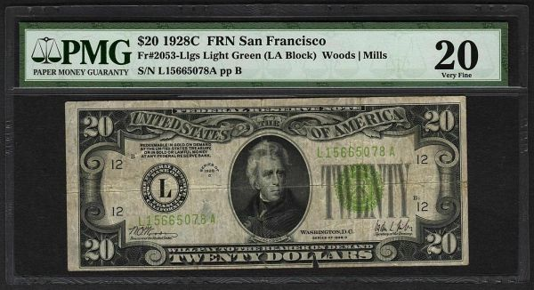 1928C $20 FRN San Francisco PMG 20 Fr.2053-L LGS Light Green Seal Series Key Note Item #8045665-007