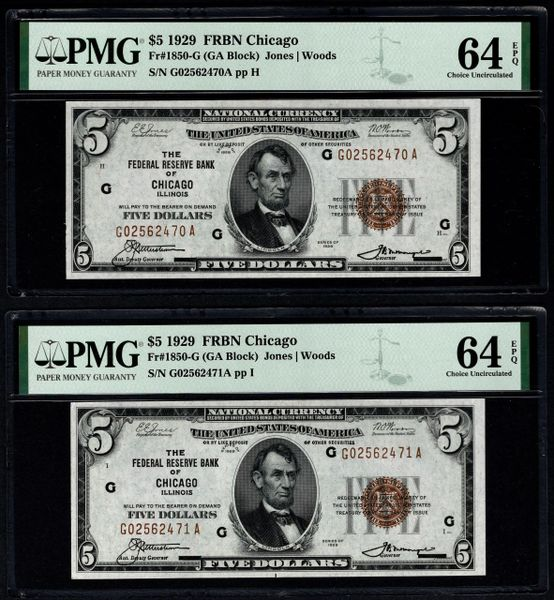Lot of Five Consecutive 1929 $5 Chicago FRBN PMG 64 EPQ Fr.1850-G Item #8075286-011/015