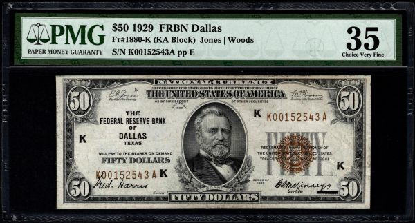 1929 $50 Dallas FRBN PMG 35 Fr.1880-K Series Key Note Item #5014653-012