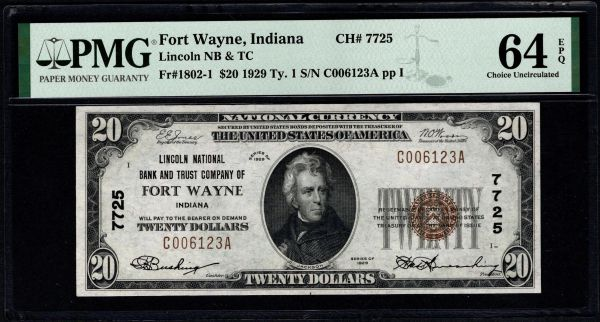 1929 $20 Lincoln National Bank & Trust Co. Fort Wayne Indiana PMG 64 EPQ Fr.1802-1 Charter CH#7725 Item #8078937-011