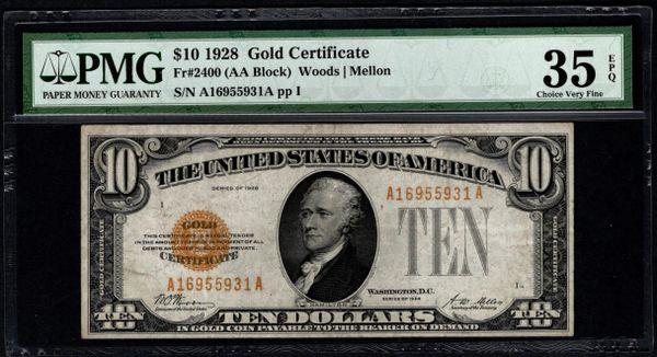 1928 $10 Gold Certificate PMG 35 EPQ Fr.2400 Item #1616486-020